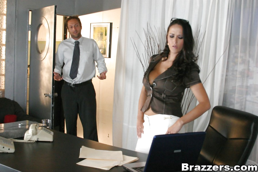 Massive tits secretary catches her boss looking at porn