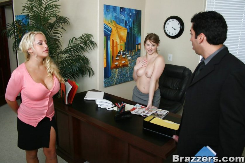 Tanned blonde walks in on a blowjob and decides to join the party