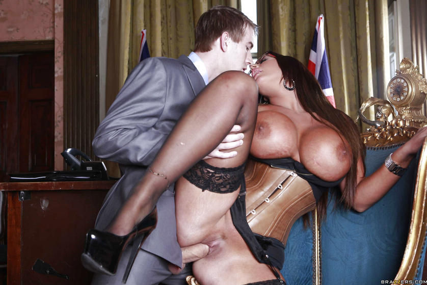 Lusty and tanned brunette MILF fucked at the British Embassy