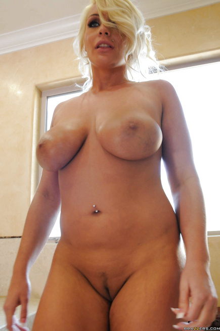 Bald man can't stop punishing the blonde MILF with fake tits