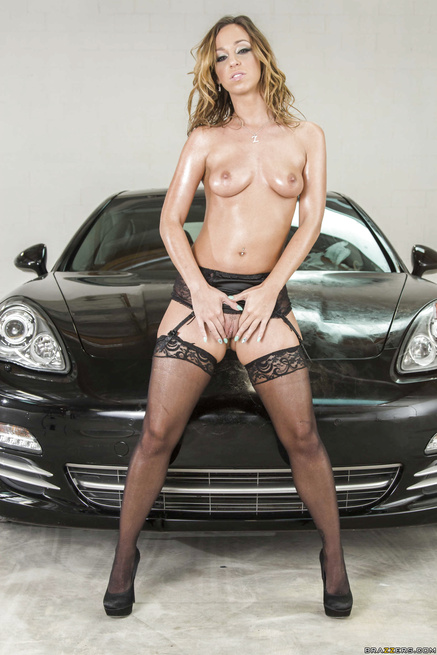 Hot models in black stockings are sharing the lover's cock in the car