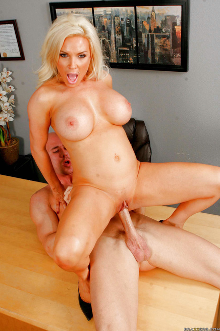 Perfect blonde MILF fucks a teacher to get the much-needed leverage