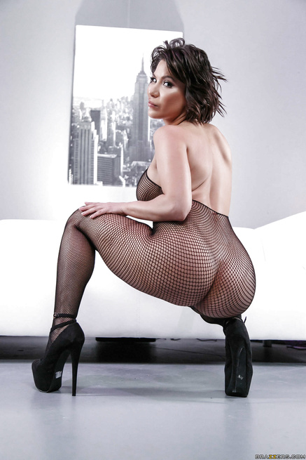 Join the muscular ebony man banging the brunette in black fishnet