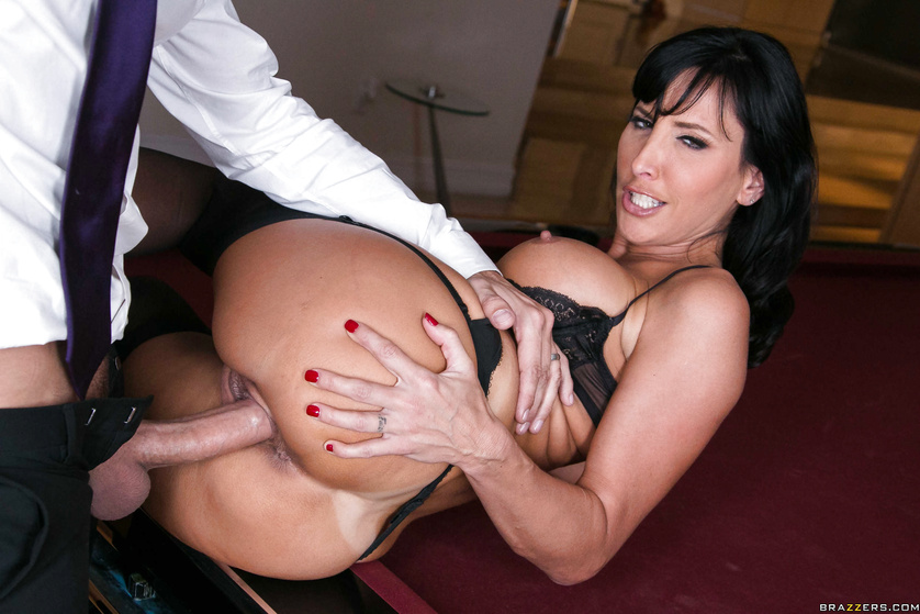 Pool table pounding for a dark-haired MILF with massive tits