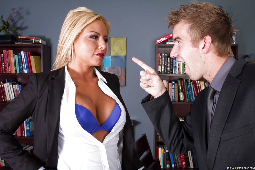 Busty blonde in purple decides to fuck a guy instead of working