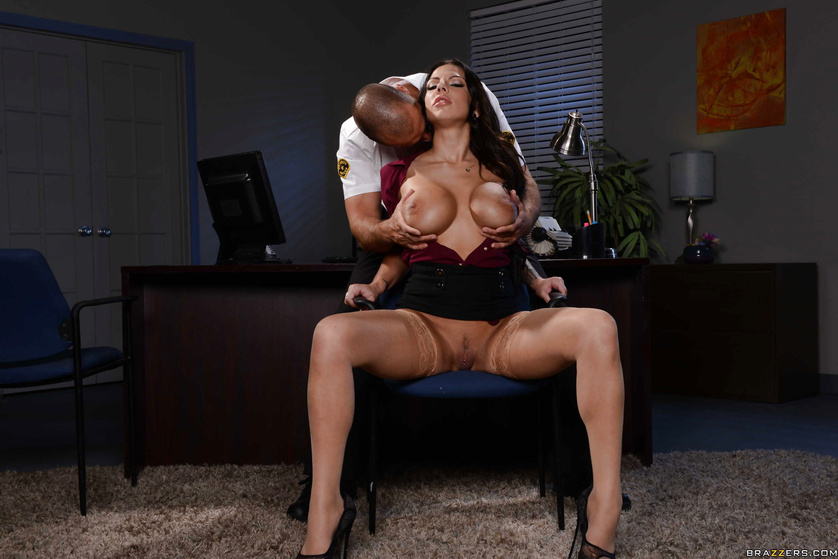 Late night office fucking with a tanned and tatted-up brunette slut