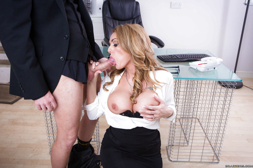 Blonde with piercing blue eyes fucks some business partner