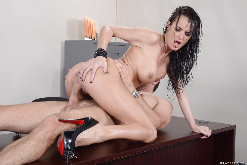 Soaking wet brunette gets fucked like a complete and utter slut
