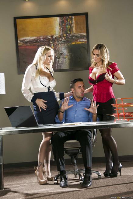 Julia Ann and Tanya Tate walk through the door determined to seduce him