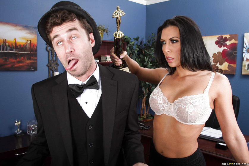 Humanitarian of the year award winner fucks a tanned brunette