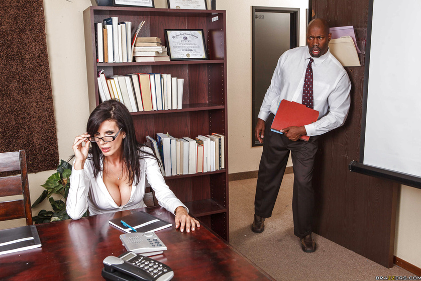 MILF office worker can't wait to try her first big black cock