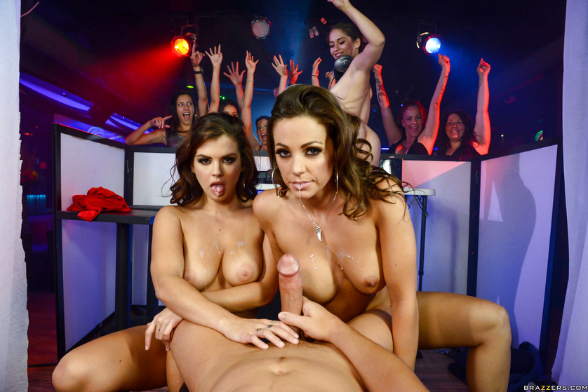 Three party sluts gang up on a hung DJ and blow his massive cock