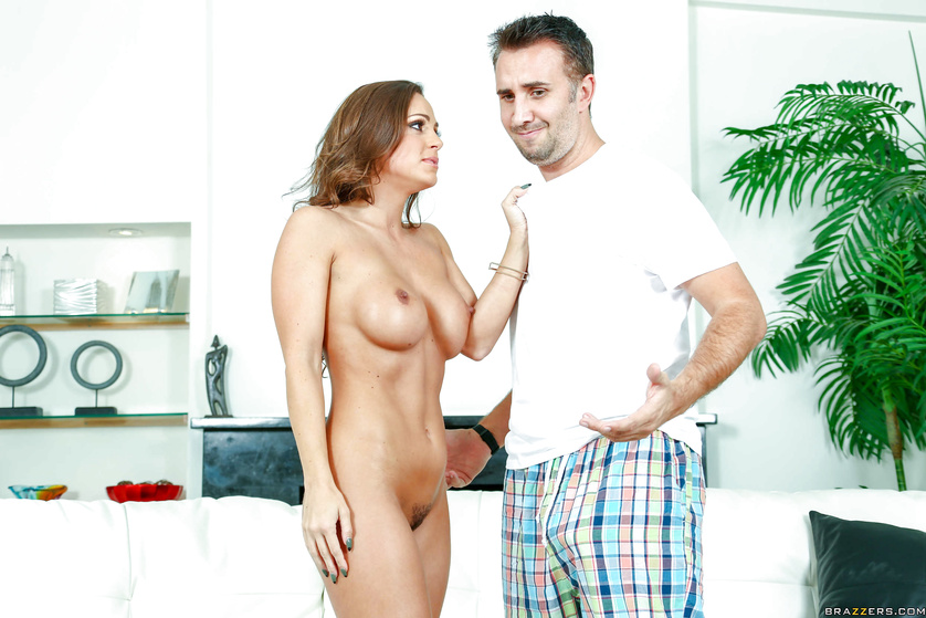 Twisted brunette housewife seducing a deadbeat dude with a big cock