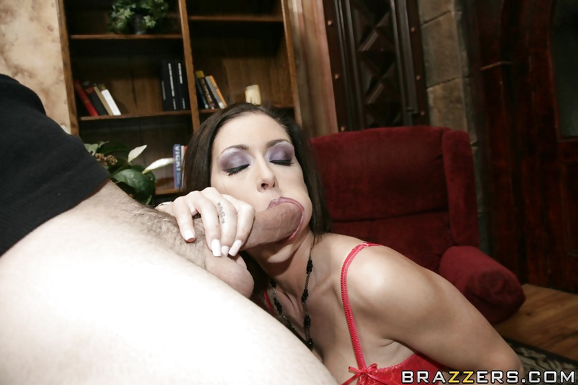 Splits impress a hung guy, so he fucks this busty brunette MILF