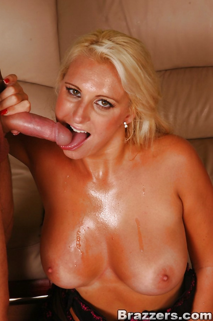 Blonde in a bodysuit gets to fuck the biggest cock in the world