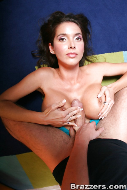 Exotic-looking brunette in a denim skirt fucked on a couch