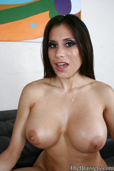 Oiled-up cop lady brunette gets fucked by a big-dicked guy