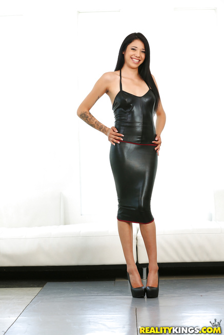 Juicy babe in leather dress is getting penetrated with extremely strong cock