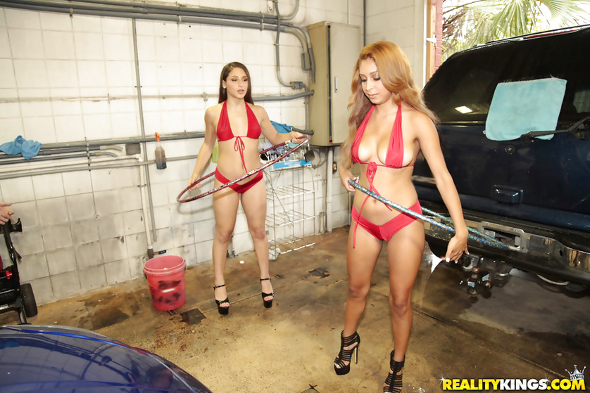 Two horny babes in red bikini and high heels are getting drilled