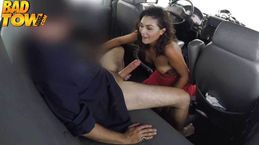 Cute amateur MILF is sucking cock of a car's driver passionately