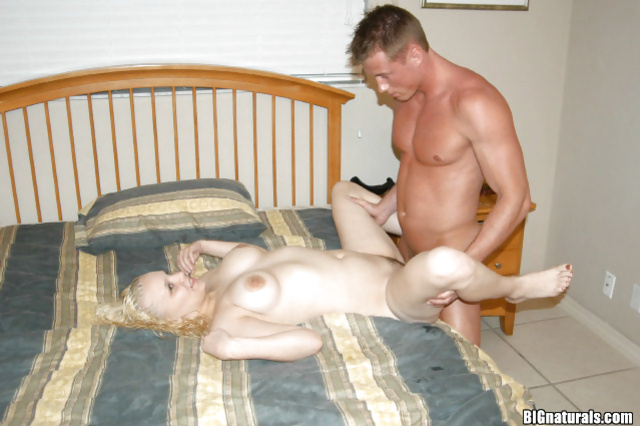 Blonde amateur and a handsome lover having a quick intercourse