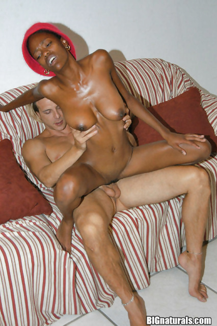 Skinny black chick with natural tits pounded and covered in cumshot
