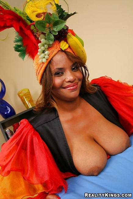 Ebony chubby madam is riding cock and her boobs are bouncing