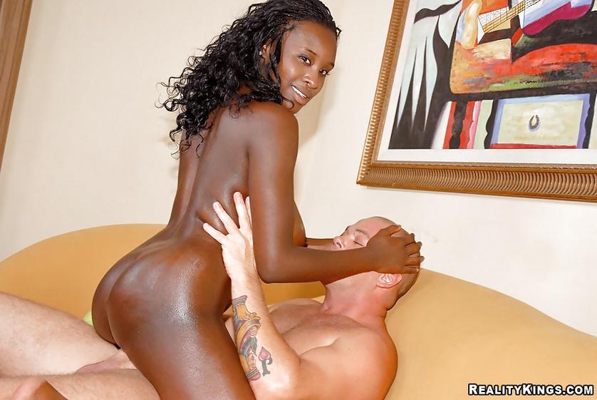 Chocolate babe named Shanti is enjoying wild interracial fuck