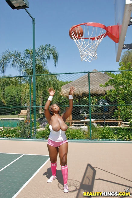Two ebony babes are playing basketball and getting fucked