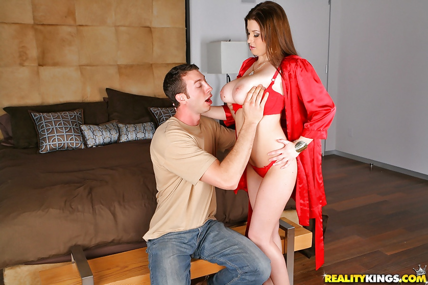 Sensational MILF in red is showing masturbation and fuck skills
