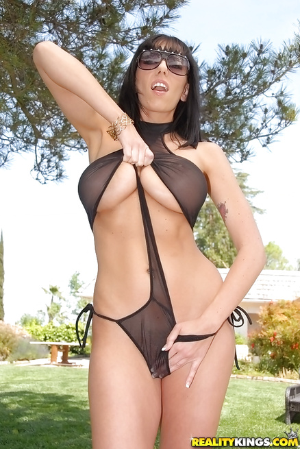 Sexy MILF wearing black lingerie is getting fucked outdoor