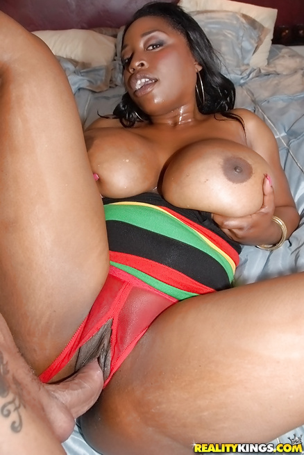 Brunette with ebony skin and big tits loves getting penetrated