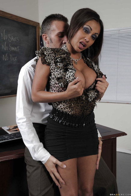 Exotic brunette teacher decides to bang her big-dicked coworker