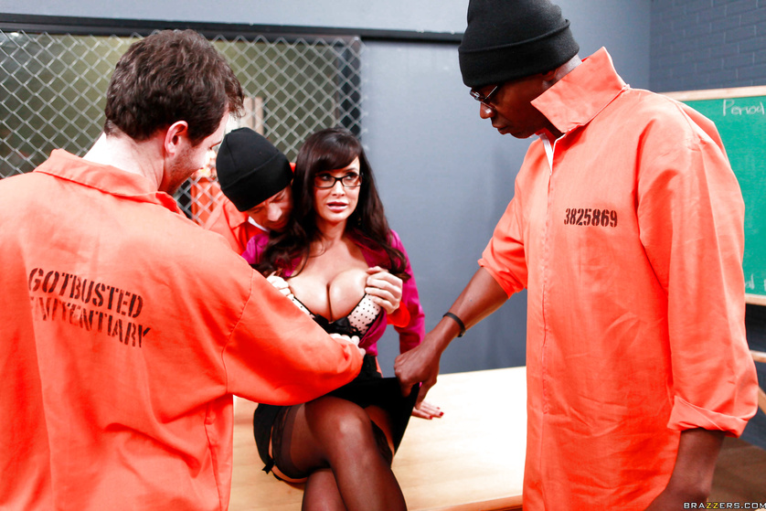 Three big-dicked convicts bang a stacked brunette MILF teacher