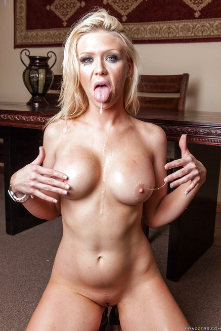 MILF blonde with massive tits gets caught masturbating in the office