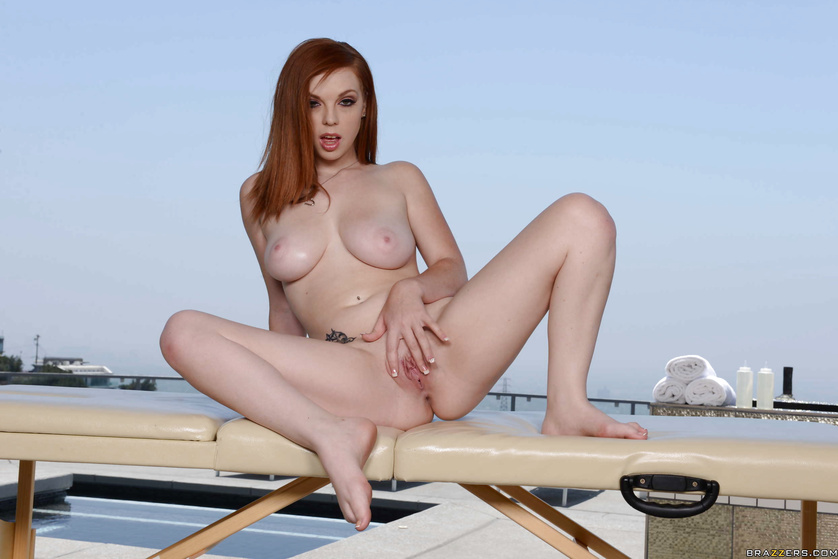 Outdoor sex is what this redhead model loves so much