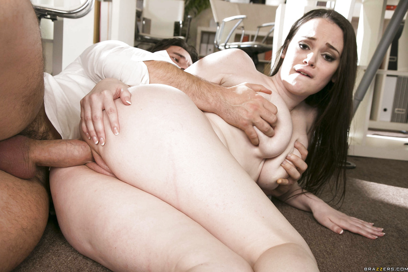 Dirty brunette in black stockings gets her hairy twat drilled