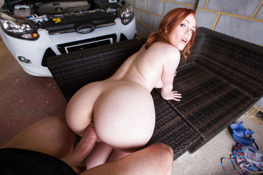 Racy redhead with grey panties gets fucked next to her car