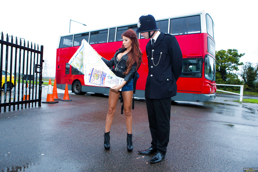 Double-decker bus FFM threesome with a busty redheaded tourist