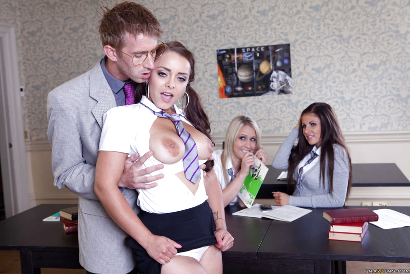 Filthy foreign student seduces her teacher in front of the class