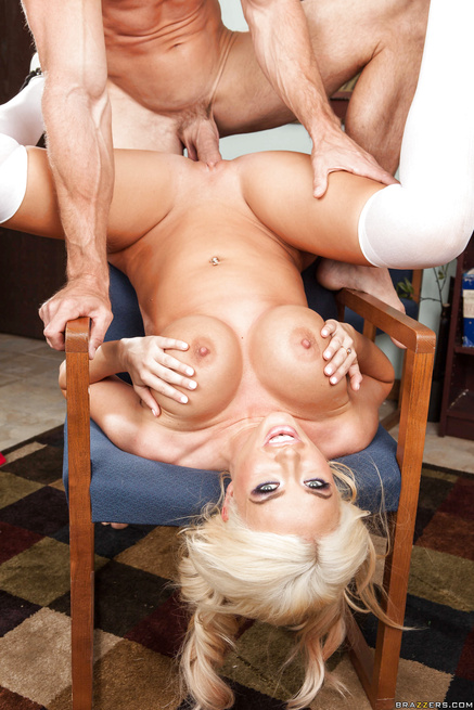 Dolled-up blonde schoolgirl has no shame when it comes to her tits
