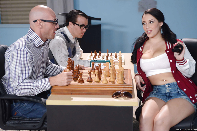 Busty brunette in pink lingerie is fucking with the chess player
