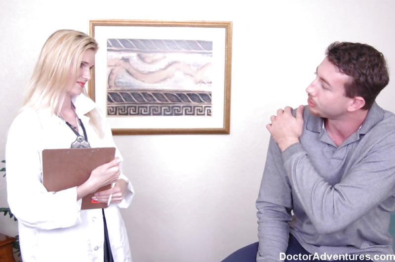 Thick and pale blonde doctor gets to fuck her big-dicked patient