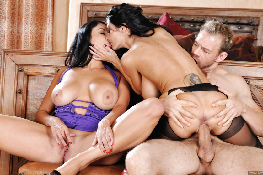 Two curvy brunettes double his pleasure and triple the lust
