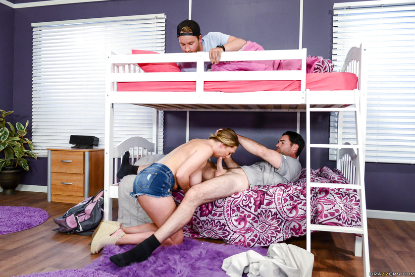 Appetitive schoolgirl is fucking with two strong room-mates