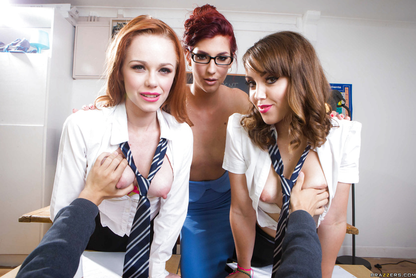 Hot schoolgirls are sharing the strong guy's cock with the teacher