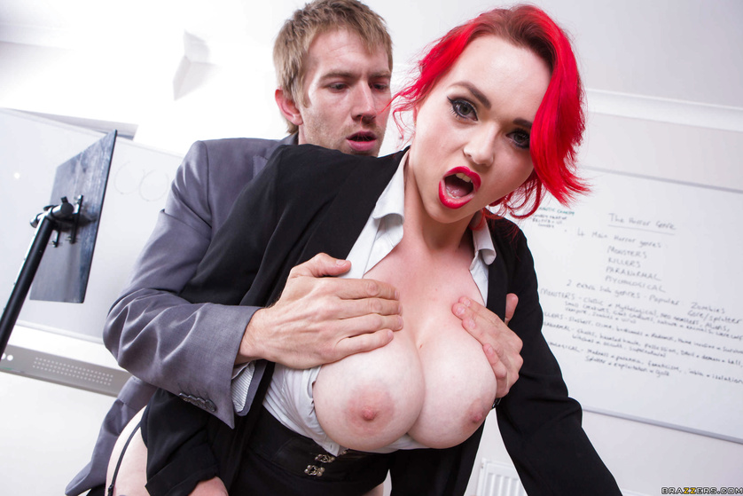 Redhead teacher with huge boobs is ready for wild sex