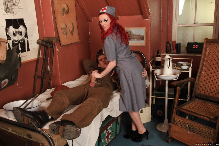 Brutal soldier can't stop fucking this redhead nurse wildly
