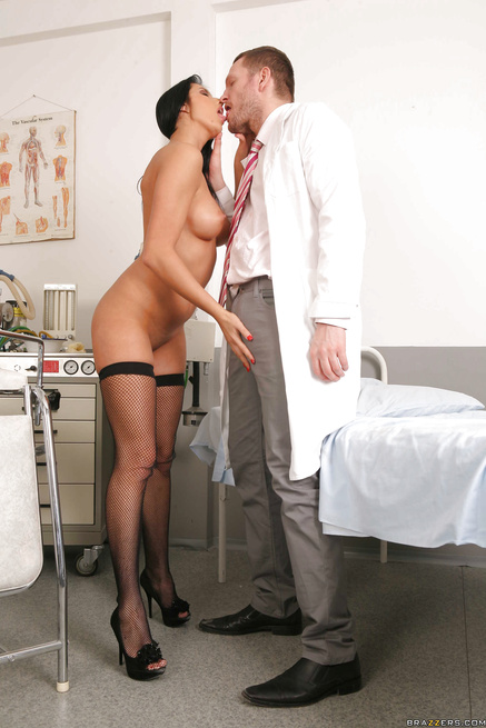 Strong doctor in white gloves is penetrating sexy brunette's ass hole
