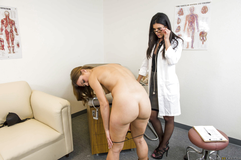 Routine medical examination leads to lezdom fucking on cam
